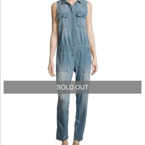 Etienne Marcel denim sleeveless jumpsuit sz small